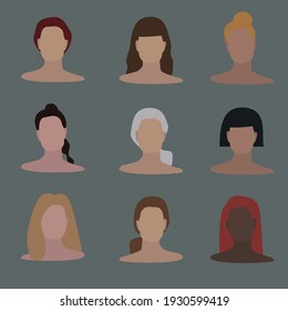 Set of different women faces. Brown, blonde, black and red hair. White and black skin. Nine elements