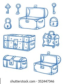Set of different wooden boxes and treasure chests, open and closed, locks an keys hand drawn vector illustration.