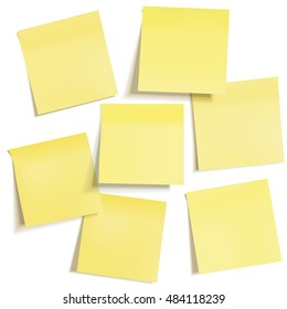 Set of different yellow sticky note papers, ready for your messa