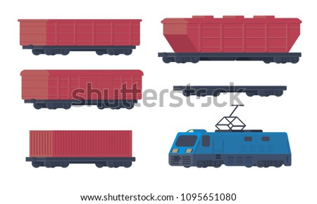 Set Of Diffet Types Railway Cargo Cars Boxcar Hopper Open Wagon And Lootive