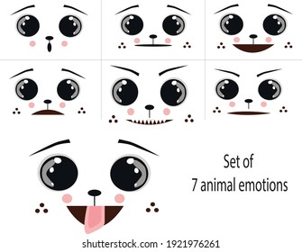 set of diffetent animal emotions on white background