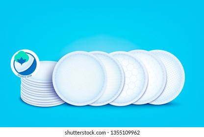 Set of diffrent cotton layers for cotton pads and disks, nursing pad and sanitary napkin. Hypoallergenic and absorption soft liners, 3d realistic vector illustration on blue background.