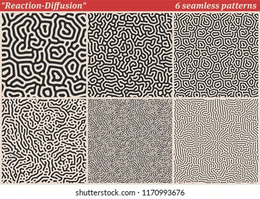 Set of diffusion reaction vector seamless pattern. Black and white organic, biological  shapes, lines pattern. Abstract Background illustration
