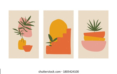 Set of digital art illustrations, contemporary minimalist abstract modern posters, plants, stairs, vases, organic shapes, simple colors with texture. Design for social media, wall art, print, card.