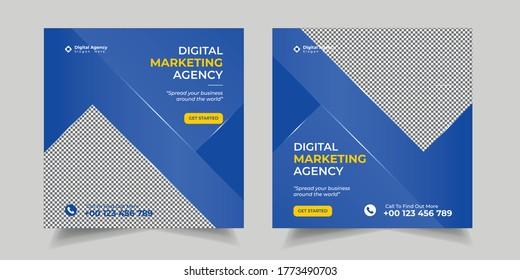 Set Digital Business Marketing Social Media Banner, Post Template for Digital Marketing. Square Flyer Template with Editable web Banner, Digital Marketing Agency