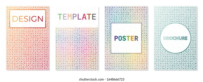 Set of digital covers. Can be used as cover, banner, flyer, poster, business card, brochure. Artistic geometric background collection. Charming vector illustration.