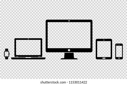 Set of digital devices icons on transparent background