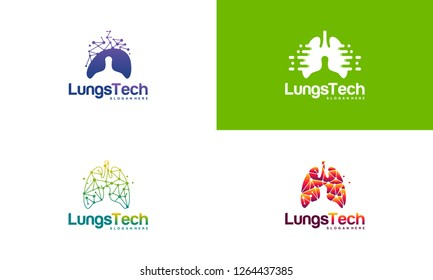 Set of Digital Lungs, Pixel Lungs logo designs concept, design concept, logo, logotype element for template