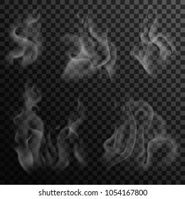 Set of digital realistic smoke on a dark background. Izolated white steam from coffee, tea and hot food. Transparent elements for web pages and menu