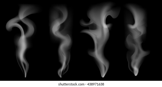 Set of digital realistic smoke vector illustration, curly smoke flow collection, curved transparent smoke flow image, grey smoke flow, vertical smoke flow, 3D smoke flow picture, set of 4 smoke flows