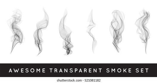 Set of digital realistic smoke vector illustration