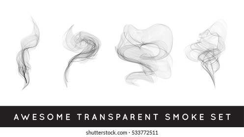 Set of digital realistic smoke vector illustration, curly smoke flow collection
