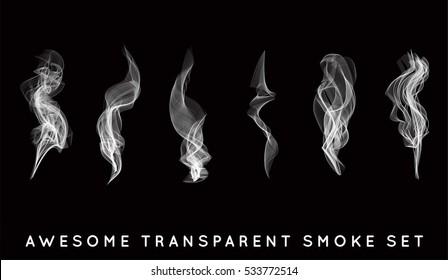 Set of digital realistic smoke vector illustration