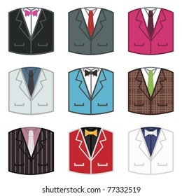 set of dinner jacket icons with shirts and ties, isolated on white