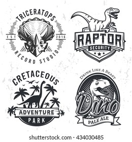Set of Dino Logos. Raptor t-shirt illustration concept on grunge background. T-rex beer label design. Vintage Jurassic Period badge.