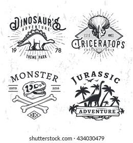 Set of Dino Logos. T-rex skull t-shirt illustration concept on grunge background. stegosaurus adventure park insignia design. Vintage Jurassic Period badge collection.