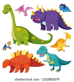 Set of dinosaur character illustration