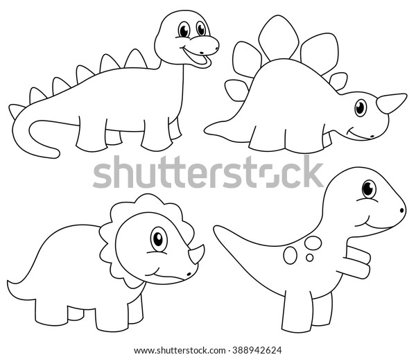 Set Dinosaur Coloring Page Kids Funny Stock Vector (Royalty Free ...
