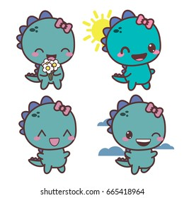 Set of dinosaur happy girl. Good day. Vector flat illustration