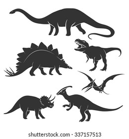 Set of dinosaur silhouettes. Amphicoelias and prehistoric, tyrannosaurus and triceratops,  vector illustration