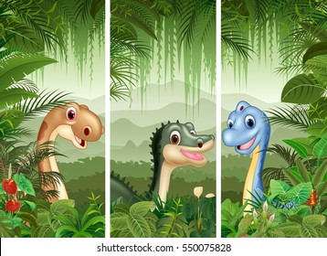 Set of dinosaur with tropical forest background