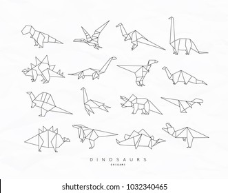 Set of dinosaurs in flat origami style tyrannosaurus, pterodactyl, barosaurus, stegosaurus, deinonychus, euoplocephalus, triceratops brachiosaurus drawing with black lines on white background