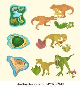 Set of dinosaurs including T-rex, Brontosaurus, Triceratops, Velociraptor, Allosaurus, prehistorical islands and floras. Isolated vector illustration.