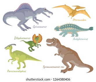 Set of dinosaurs isolated on white background. T-Rex, Spinosaurus, Pteranodon, Ankylosaurus, Dilophosaurus, Parasaurolophus. Vector illustration of cute characters in cartoon flat style.
