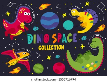 set of dinosaurs in space part 1  - vector illustration, eps