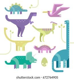 Set of dinosaurs. Vector cartoon illustration. Flat design. Isolated on white. Stegosaurus, Ankylosaurus, Brachiosaurus, Triceratops, Parasaurolophus, Pterodactyl, Tyrannosaurus, Apatosaurus
