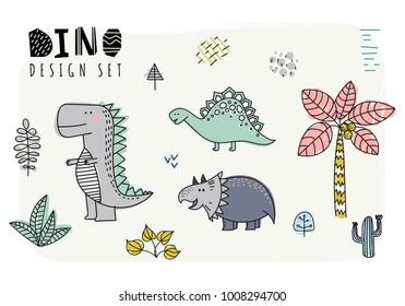 Set of dinosaurs. Vector illustration