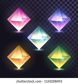 A set of dipyramid crystals, diamond jewels, octahedron magic stones