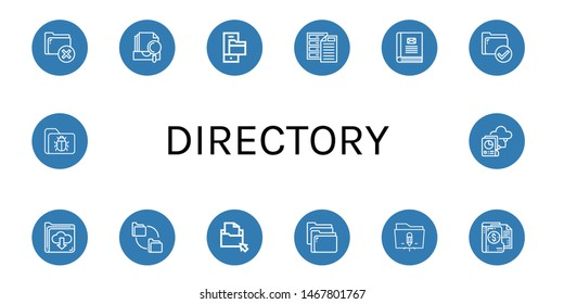 Set of directory icons such as Folder, Archive, Contact book, Folders , directory