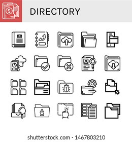 Set of directory icons such as Folder, Contact book, Phone book, Folders, Dossier, Archive, Directory , directory