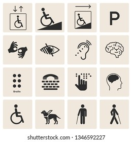 Set of disability icons: mental, physical, sensory, intellectual disability symbols. Isolated on background. Set of disabled signs: deaf, blind, mute and wheelchair icons.