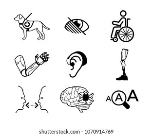 Set of disability related icons and bionic, artificial organs