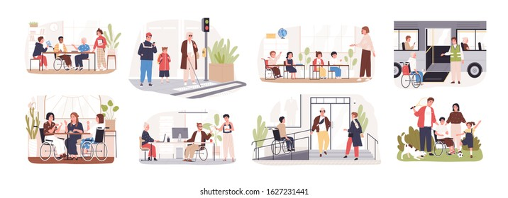 Set of disabled cartoon people care at public place vector flat illustration. Collection of handicapped person in wheelchairs isolated on white background. Concept of inclusion at modern society.
