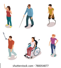 Set of disabled people cartoon isometric style vector illustration