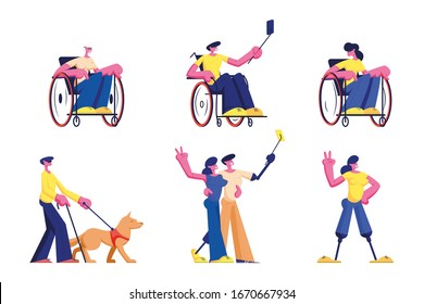 Set of Disabled People Lifestyle. Male and Female Handicapped Characters Young and Old Men and Women Riding on Wheelchair, Walk with Dog Guide, Make Selfie, Meet Friends. Cartoon Vector Illustration