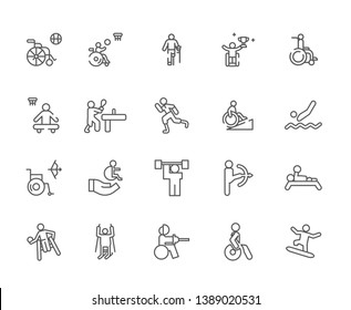 Set of disabled sports Related Vector Line Icons. Includes such Icons as Sports, Paralympic games, disabled, sports for disabled, wheelchair, crutches, disability - vector