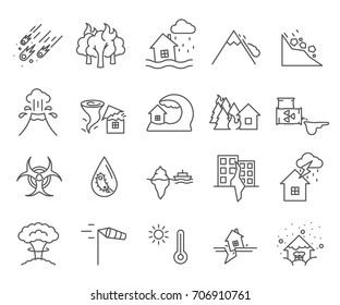 Set of disaster Related Vector Line Icons. Contains such Icons as accident, crash, plane crash, flood, fire, road traffic accident and more.