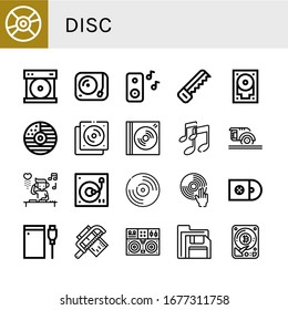 Set of disc icons. Such as Compact disc, Turntable, Music, Saw, Hard drive, Cd, Dvd, Circular saw, DJ, Vynil, Cds, Floppy disk, Hard disk , disc icons