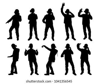 Set of disc jockey silhouette vector