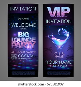 Set of disco background banners. Big lounge cocktail party poste