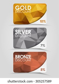 A set of discount cards with gold, silver and bronze geometric polygonal background.