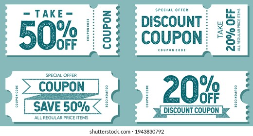 Set of discount coupon templates, stamp effect, sample text, take 50% off, 20% off, save 50%, special offer, all regular price items, coupon code