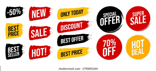 Set discount label with advertising text on brush stripe and circle in different colors. Vector illustration. Special offer the best price only today, super sale, hot deal sign isolated on white.