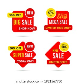 Set of Discount price badges. Sale stickers isolated on white background. Promotion coupon templates