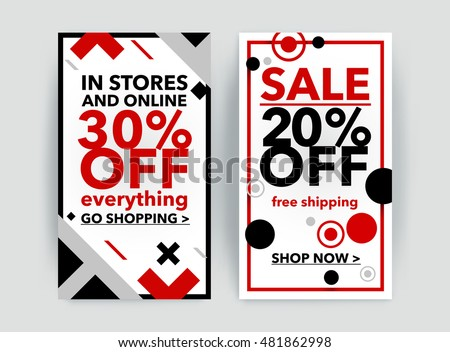 Set Discount Sale Banner Fashion Newsletter Stock Vector Royalty