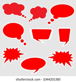 Set of discount speech bubble. Vector discount tags collection with red tags.
